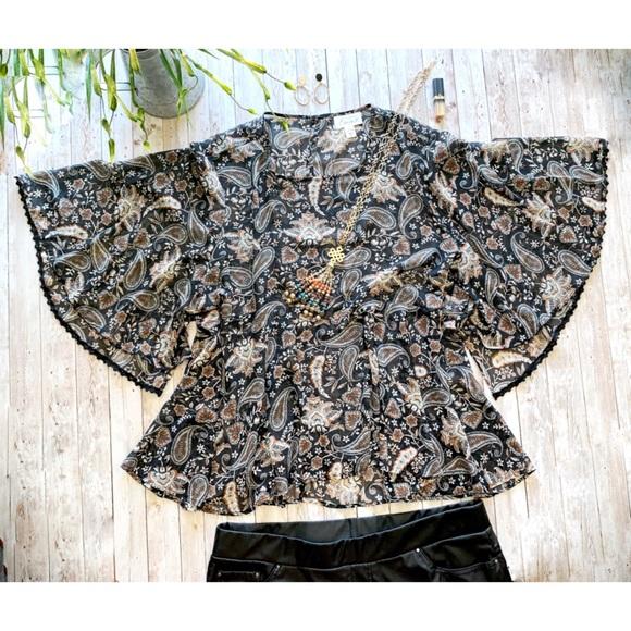 Emma paisley print bat wing blouse